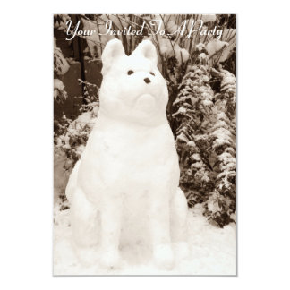 funny snow akita snowman christmas photograph 3.5x5 paper invitation card
