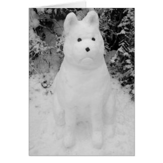 funny snow akita snowman christmas photograph art greeting card