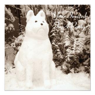 funny snow akita snowman christmas photograph card