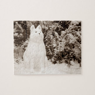funny snow akita snowman photo christmas jigsaw puzzle