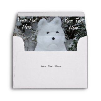 funny snow dog akita snowman seasonal photo art envelope