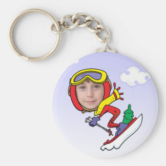 Funny Snow Skier Photo Face Template Keychain