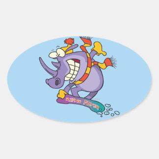 funny snowboarder snowboarding rhino cartoon oval sticker