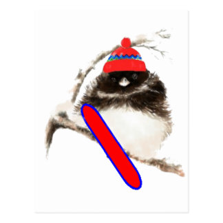 Funny Snowboarding Chick, Cute Sport Bird Postcard