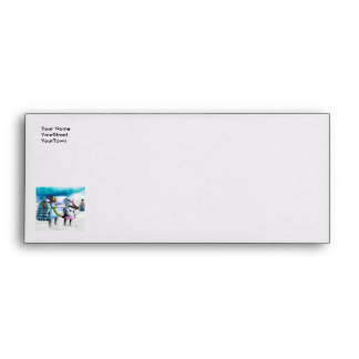 Funny snowman and snow women envelope