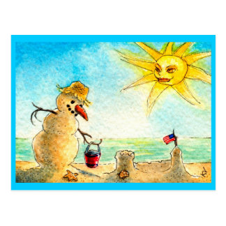 Funny Snowman Beach Holiday Vacation postcard