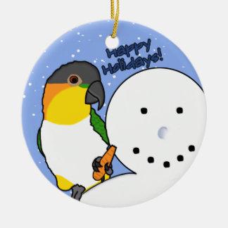 Funny Snowman Black Headed Caique Ornament