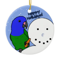 Funny Snowman Blue Headed Pionus Ornament