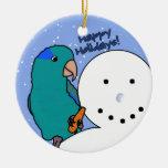 Funny Snowman Blue Parrotlet Ornament