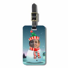 Funny Snowman Cartoon Customized With Your Photo Luggage Tag