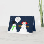 """FUNNY SNOWMAN CHRISTMAS CARD<br><div class=""""desc"""">Cute and funny snowman are the feature for this christmas card. Obviously one snowman,  BOB,  has been working out this winter.</div>"""
