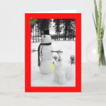 """Funny snowman Christmas Holiday Card<br><div class=""""desc"""">Funny snowman cards with a funny, humorous snowman theme for those who love to see funny snowmen at Christmas.Funny, humorous snowmen happy Christmas cards will certainly make folk laugh this festive season with their wicked snowmen humor.</div>"""