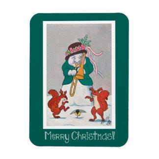Funny Snowman Christmas Magnet - Vintage Art