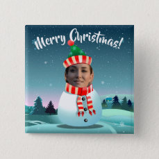 Funny Snowman Customized With Your Own Photo Button