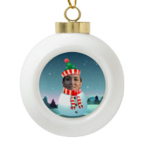 Funny Snowman Customized With Your Photo Ceramic Ball Christmas Ornament