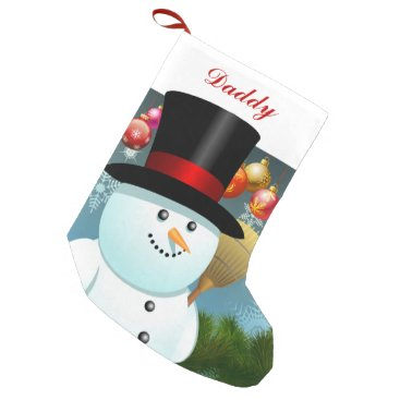 USA Themed Funny Snowman Dad With Black Felt Top Hat Small Christmas Stocking