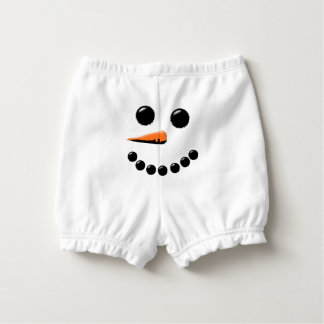 Funny Snowman Face Holiday Baby Diaper Cover