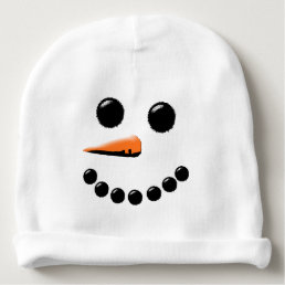 Funny Snowman Face Holiday Baby Hat