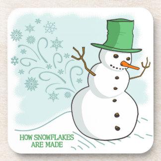 Funny Snowman Farts Snowflakes Beverage Coaster