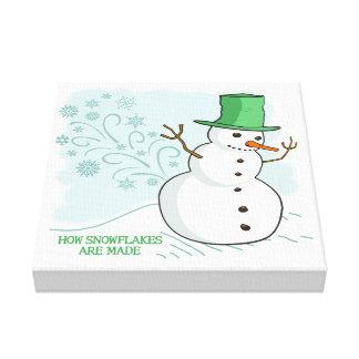 Funny Snowman Farts Snowflakes Canvas Print
