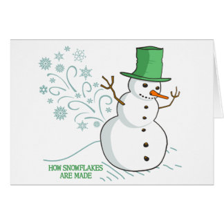 Funny Snowman Farts Snowflakes Greeting Card
