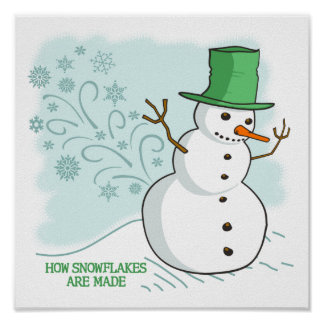 Funny Snowman Farts Snowflakes Poster