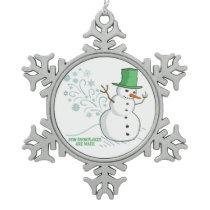 Funny Snowman Farts Snowflakes Snowflake Pewter Christmas Ornament