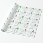 Funny Snowman Farts Snowflakes Wrapping Paper
