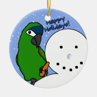Funny Snowman Hahn's Macaw Ornament