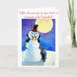 """Funny Snowman Halloween Christmas winter card<br><div class=""""desc"""">You can customize the greeting on the front or inside this card if you'd like.  Other products with this image are also available in my Zazzle store.</div>"""