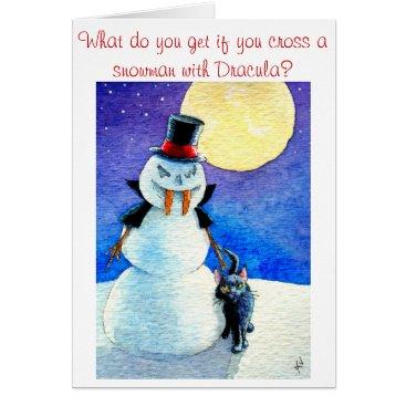 Halloween Themed Funny Snowman Halloween Christmas winter card