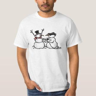Funny Snowman Holdup cartoon Christmas Tshirt