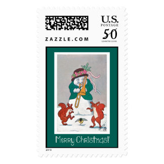 Funny Snowman Merry Christmas Stamp