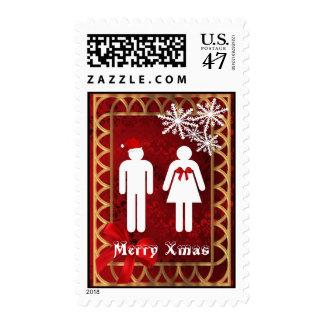 Funny snowman Mr and Mrs Santa Christmas Stamp