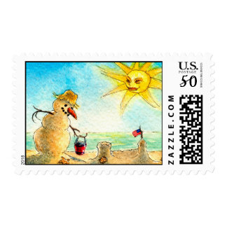 Funny Snowman on beach Holiday postage stamps