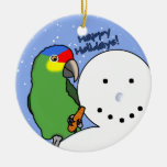 Funny Snowman Red Lored Amazon Ornament