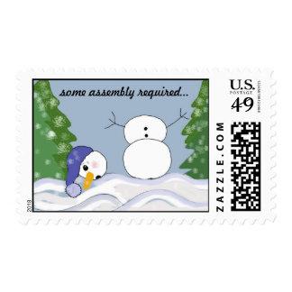 Funny Snowman Scene Postage