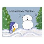 Funny Snowman Scene Postcard