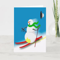 Funny Snowman Ski Skiing Joke Silly Humor Xmas Holiday Card