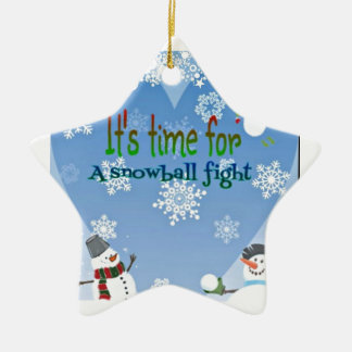 Funny Snowman Snowball Fight Christmas gifts Ceramic Ornament