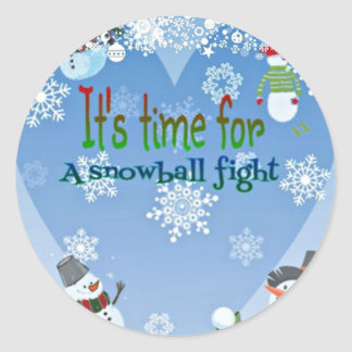 Funny Snowman Snowball Fight Christmas gifts Classic Round Sticker