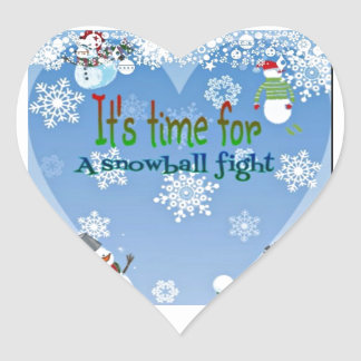 Funny Snowman Snowball Fight Christmas gifts Heart Sticker