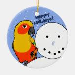 Funny Snowman Sun Conure Ornament