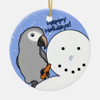 Funny Snowman Timneh African Grey Ornament
