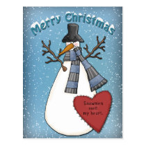 Funny Snowman with hat and scarf Postcard