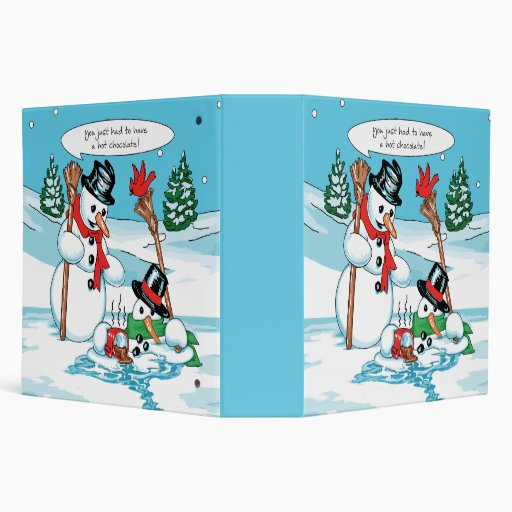 Funny Snowman with Hot Chocolate Cartoon 3 Ring Binders