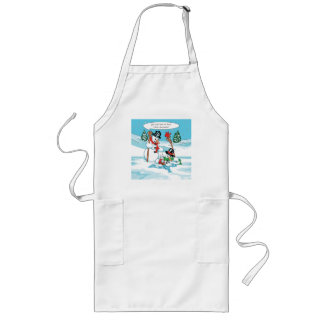 Funny Snowman with Hot Chocolate Cartoon Long Apron