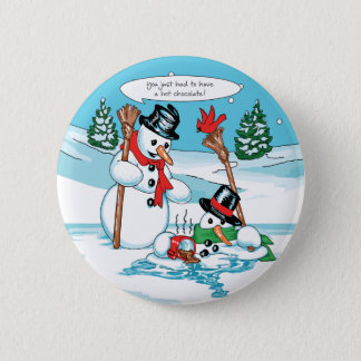 Funny Snowman with Hot Chocolate Cartoon Button