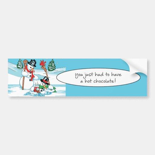 Funny Snowman with Hot Chocolate Cartoon Car Bumper Sticker