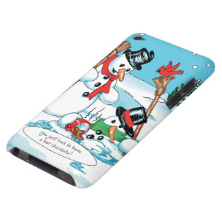 Funny Snowman with Hot Chocolate Cartoon Barely There iPod Covers